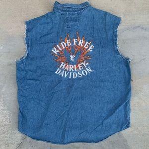 Vintage Harley Davidson Flames Cut-Off Denim Shirt